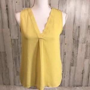 FOREVER 21 YELLOW SLEEVELESS TOP, SIZE S
